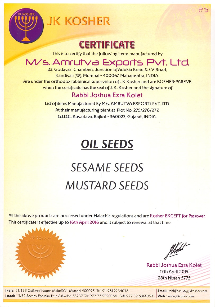 OIL SEEDS KOSHER CERTIFICATE