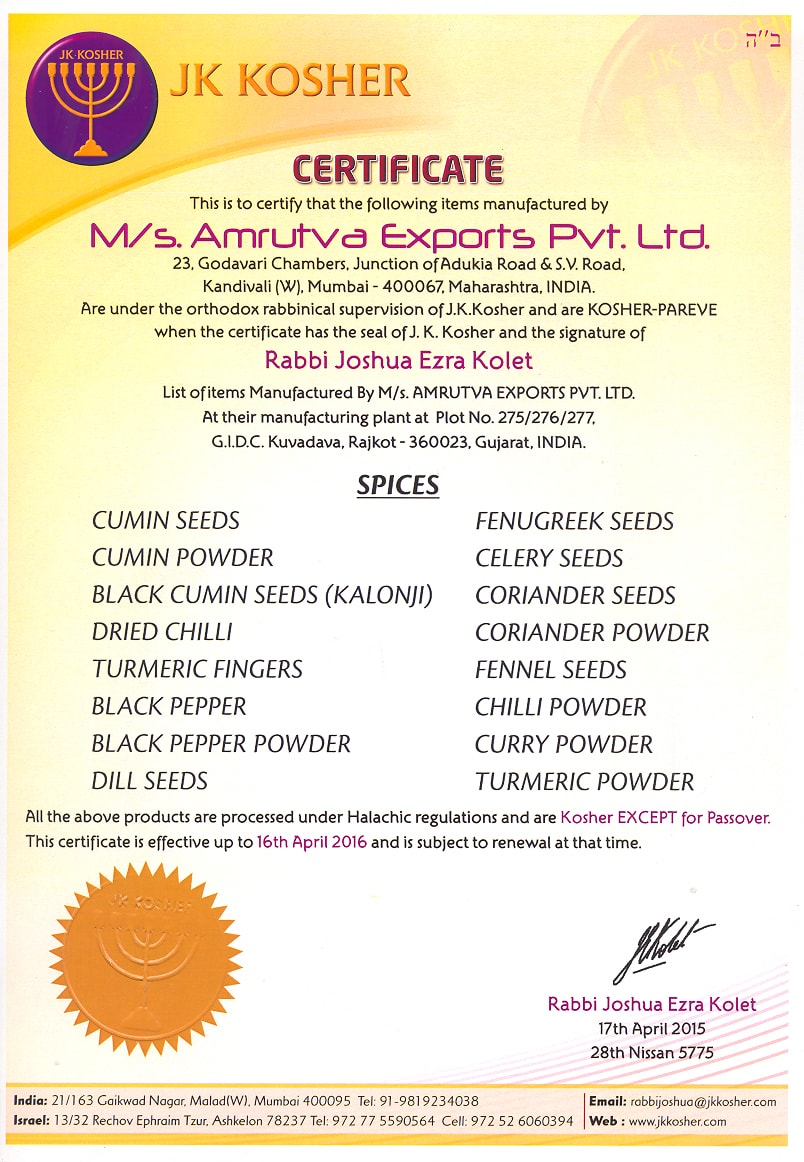 SPICES KOSHER CERTIFICATE
